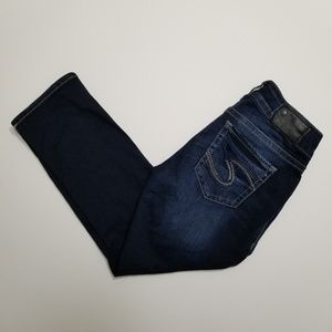 Silver Jeans Suki Mid Dark Denim Capris